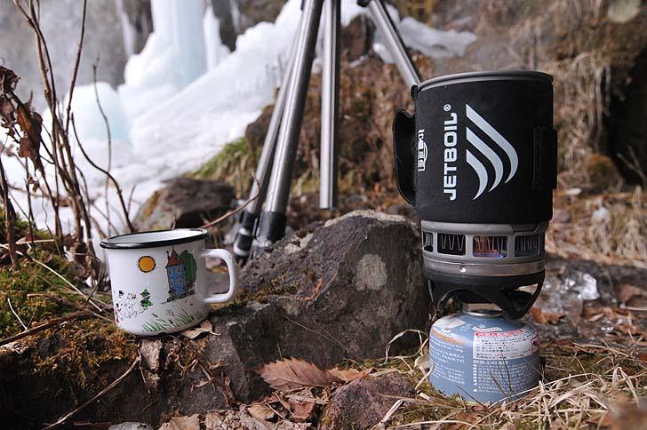 滝の水でコーヒー