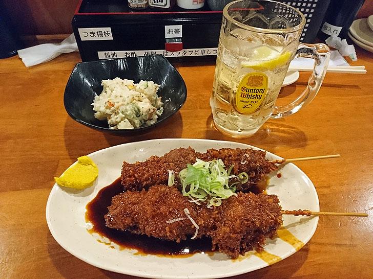 大衆居酒屋やまと岐阜駅前店の味噌串カツとポテサラとハイボール