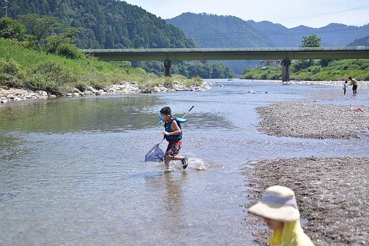 板取川で魚とり